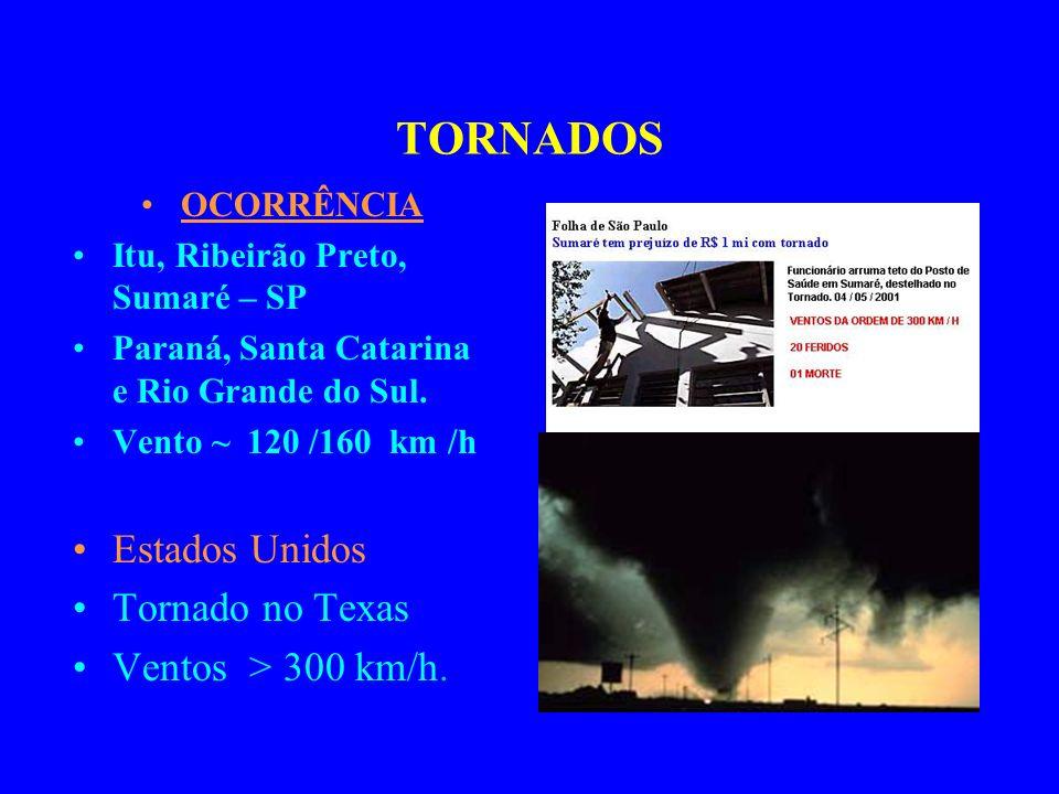 TORNADOS OCORRÊNCIA Itu, Ribeirão Preto, Sumaré – SP Paraná, Santa Catarina e Rio Grande do Sul.