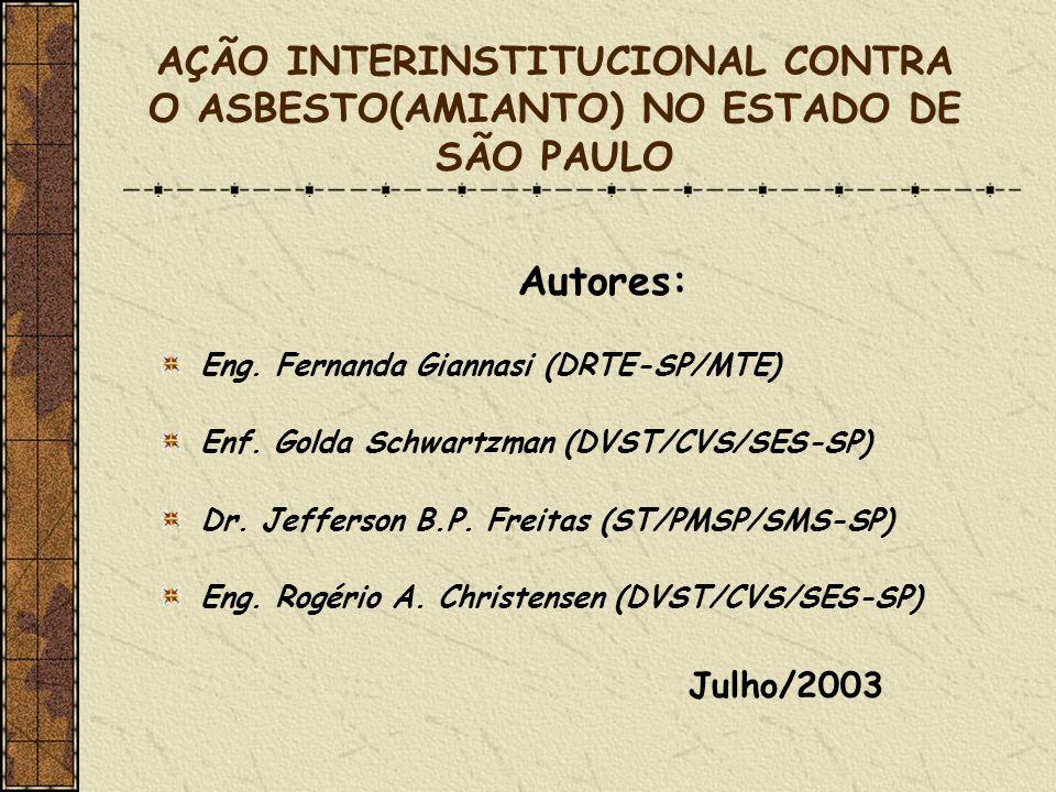 AÇÃO INTERINSTITUCIONAL CONTRA O ASBESTO(AMIANTO) NO ESTADO DE SÃO PAULO Autores: Eng. Fernanda Giannasi (DRTE-SP/MTE) Enf. Golda Schwartzman (DVST/CV