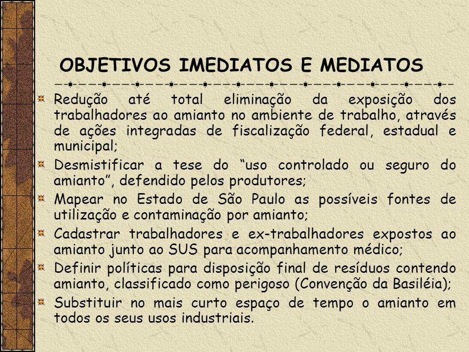 DELIMITAÇÃO DO UNIVERSO E DA AÇÃO Trabalhadores expostos ao amianto do setor automotivo (segundo maior utilizador) num total de 90 empresas cadastradas junto ao Ministério do Trabalho em São Paulo; Instrumentos legais: Lei 9055/95/Decreto 2350/97, Código Sanitário do Estado de São Paulo (Lei 10.083/98), Anexo 12 da NR-15 da CLT (Convenção 162 da OIT) e leis municipais de proibição.