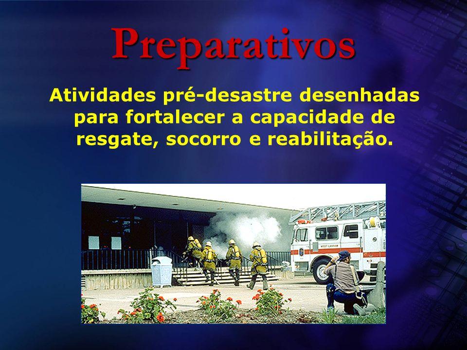 Preparativos Atividades pré-desastre desenhadas para fortalecer a capacidade de resgate, socorro e reabilitação.
