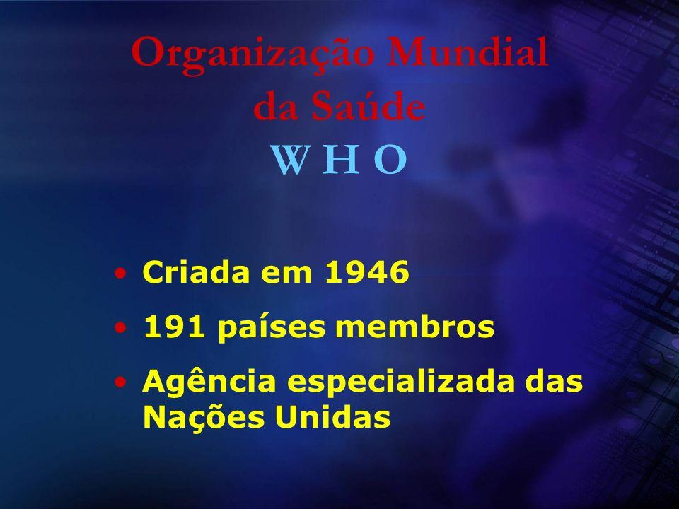 Organização Mundial da Saúde W H O Criada em 1946 191 países membros Agência especializada das Nações Unidas