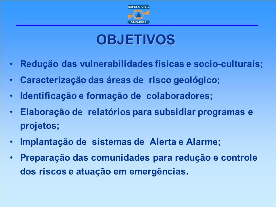 Redução das vulnerabilidades físicas e socio-culturais; Caracterização das áreas de risco geológico; Identificação e formação de colaboradores; Elabor