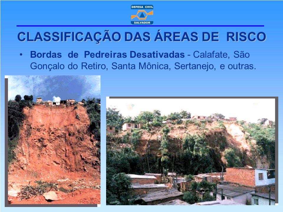 Bordas de Pedreiras Desativadas - Calafate, São Gonçalo do Retiro, Santa Mônica, Sertanejo, e outras. CLASSIFICAÇÃO DAS ÁREAS DE RISCO