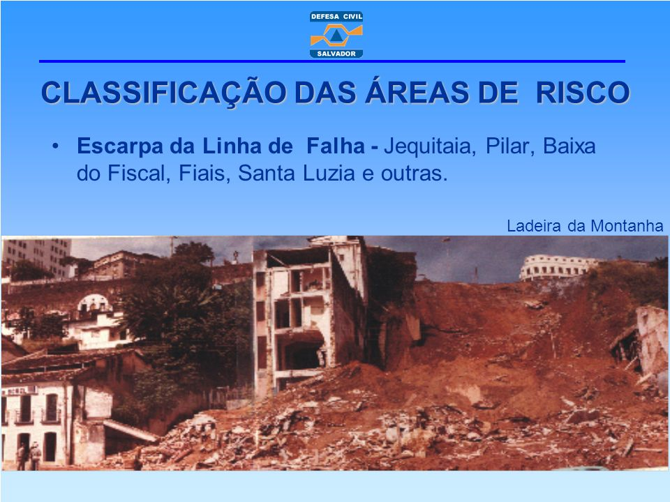 Escarpa da Linha de Falha - Jequitaia, Pilar, Baixa do Fiscal, Fiais, Santa Luzia e outras. CLASSIFICAÇÃO DAS ÁREAS DE RISCO Ladeira da Montanha
