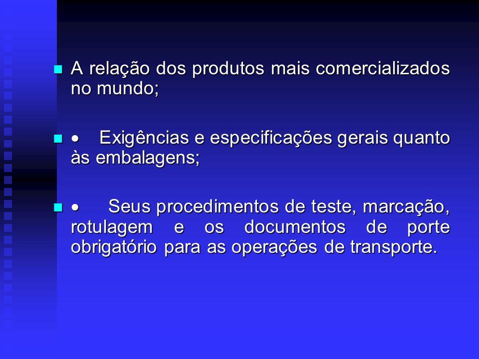 As regulamentações internacionais para o transporte de produtos perigosos Recomendações da ONU Recomendações da ONU Princípios e critérios para a clas