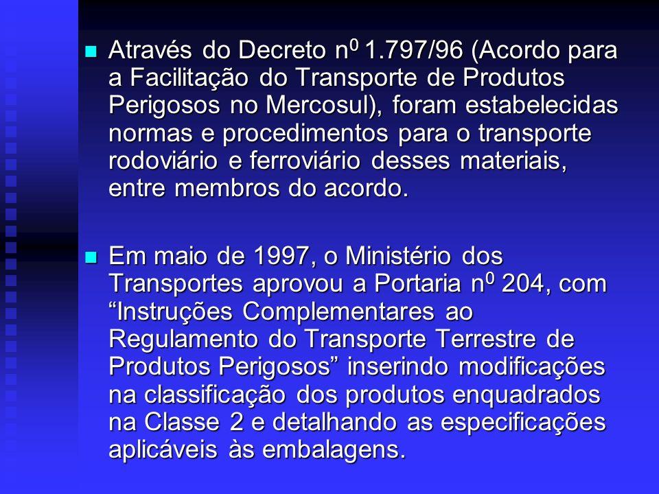 Regulamentação sobre o Transporte Rodoviário de Produtos Perigosos no Brasil Decreto n 0 88.821 /83, baseado em recomendações da ONU. Decreto n 0 88.8