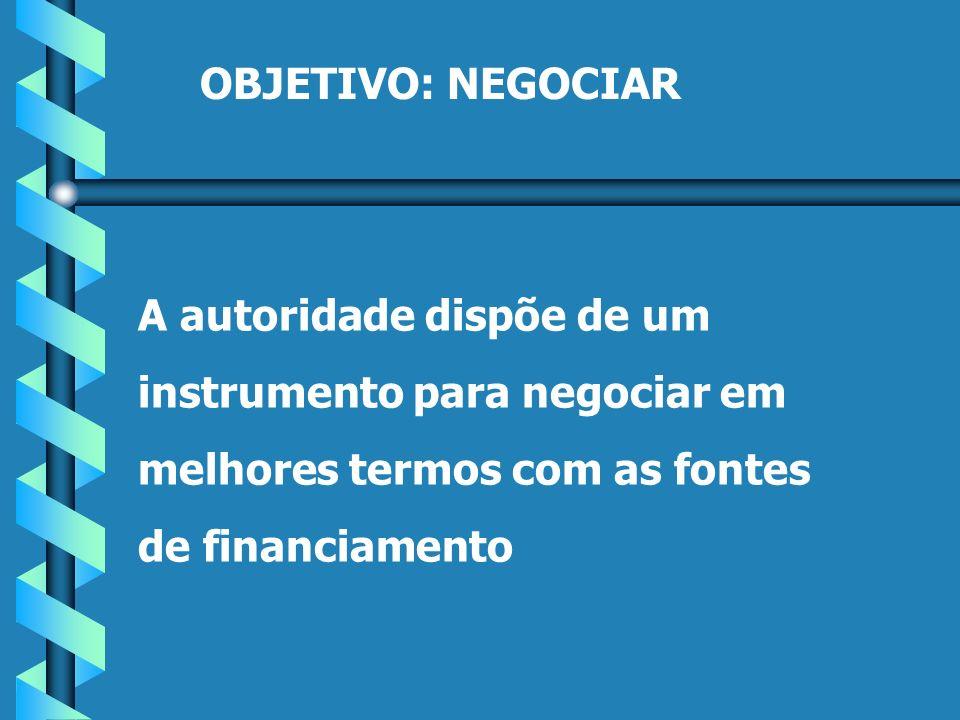 OBJETIVO: NEGOCIAR A autoridade dispõe de um instrumento para negociar em melhores termos com as fontes de financiamento