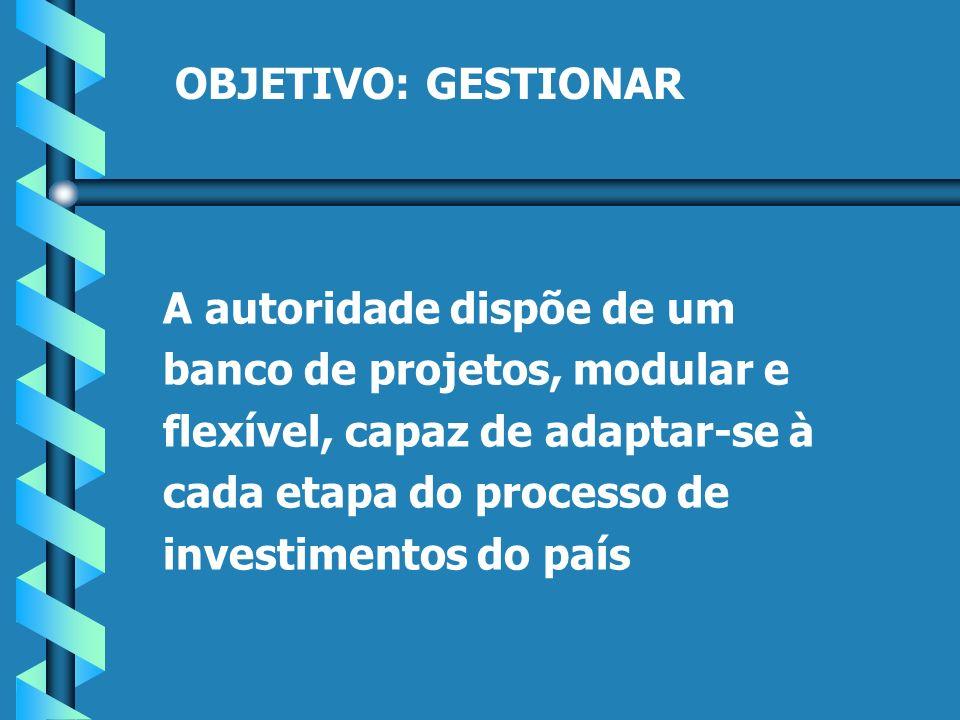 OBJETIVO:GESTIONAR A autoridade dispõe de um banco de projetos, modular e flexível, capaz de adaptar-se à cada etapa do processo de investimentos do país
