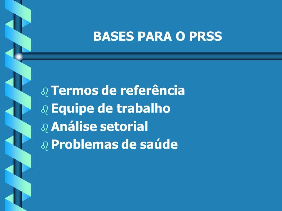 BASES PARA O PRSS b b Termos de referência b b Equipe de trabalho b b Análise setorial b b Problemas de saúde