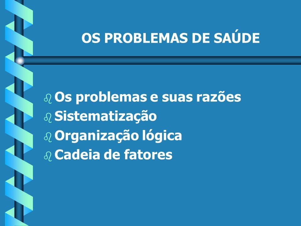 OS PROBLEMAS DE SAÚDE b b Os problemas e suas razões b b Sistematização b b Organização lógica b b Cadeia de fatores
