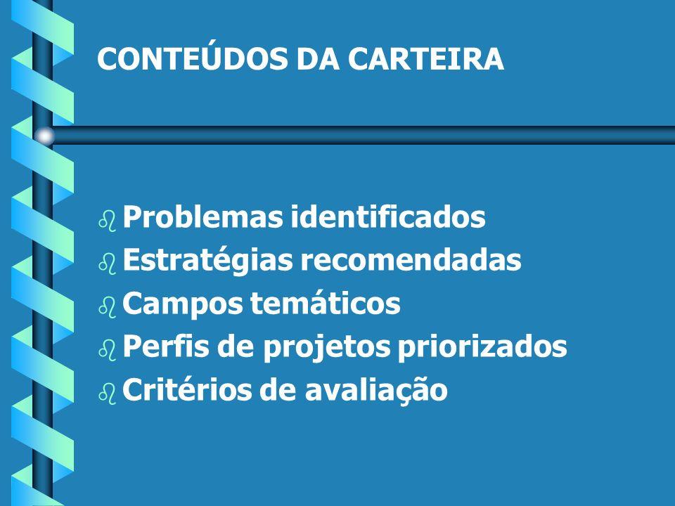 CONTEÚDOS DA CARTEIRA b b Problemas identificados b b Estratégias recomendadas b b Campos temáticos b b Perfis de projetos priorizados b b Critérios de avaliação