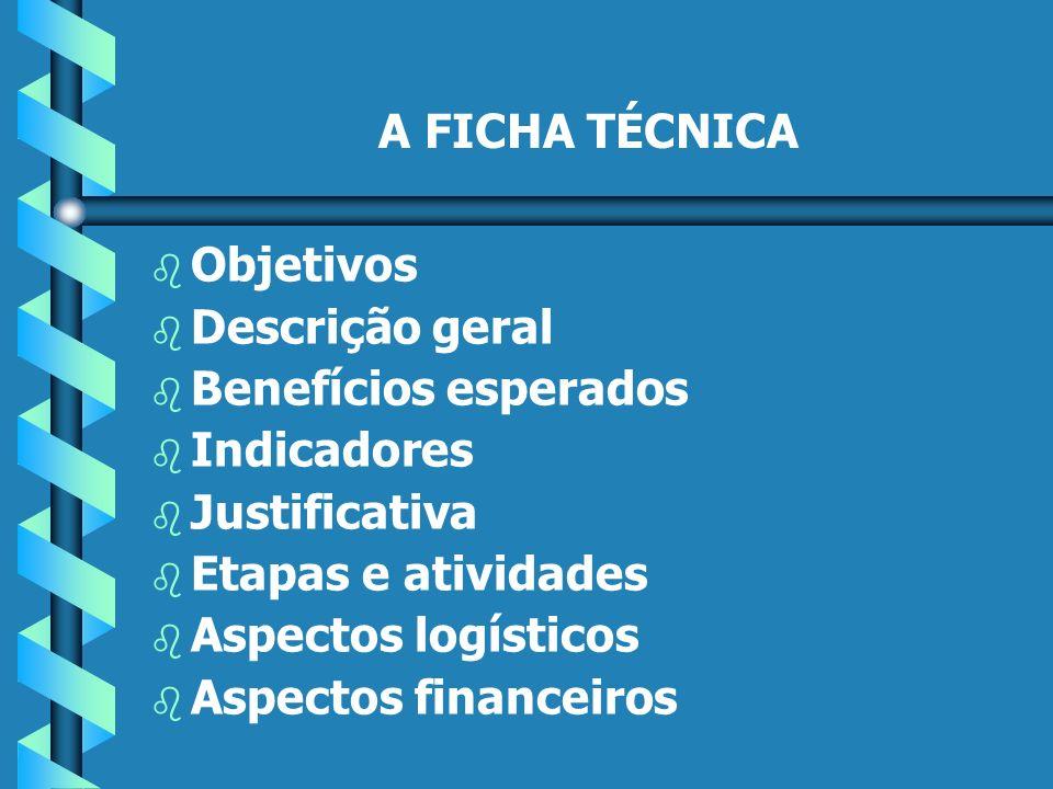 A FICHA TÉCNICA b b Objetivos b b Descrição geral b b Benefícios esperados b b Indicadores b b Justificativa b b Etapas e atividades b b Aspectos logísticos b b Aspectos financeiros