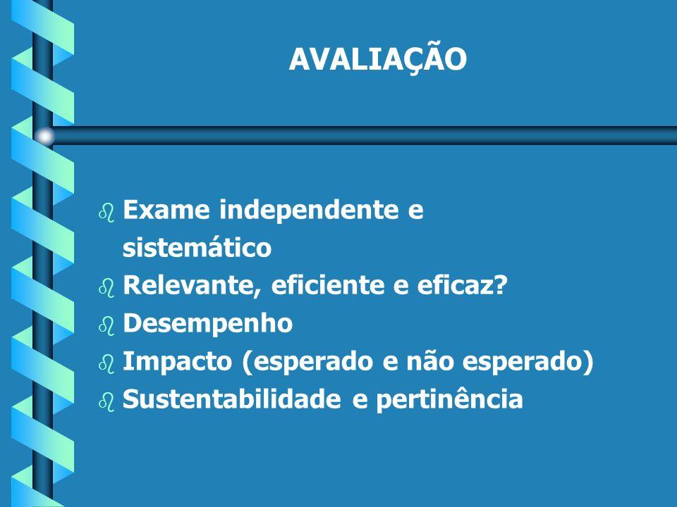 AVALIAÇÃO b b Exame independente e sistemático b b Relevante, eficiente e eficaz.
