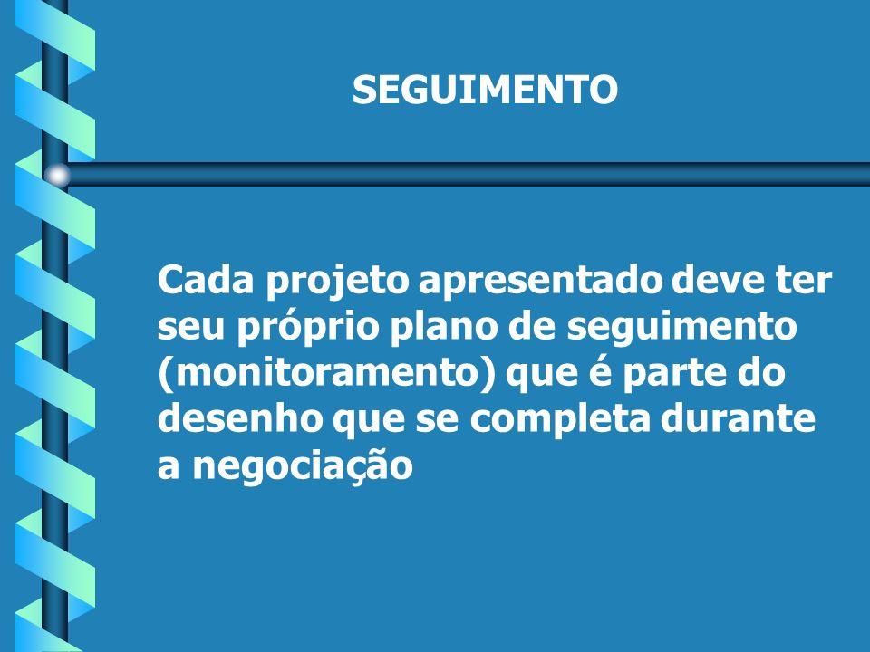 SEGUIMENTO Cada projeto apresentado deve ter seu próprio plano de seguimento (monitoramento) que é parte do desenho que se completa durante a negociação
