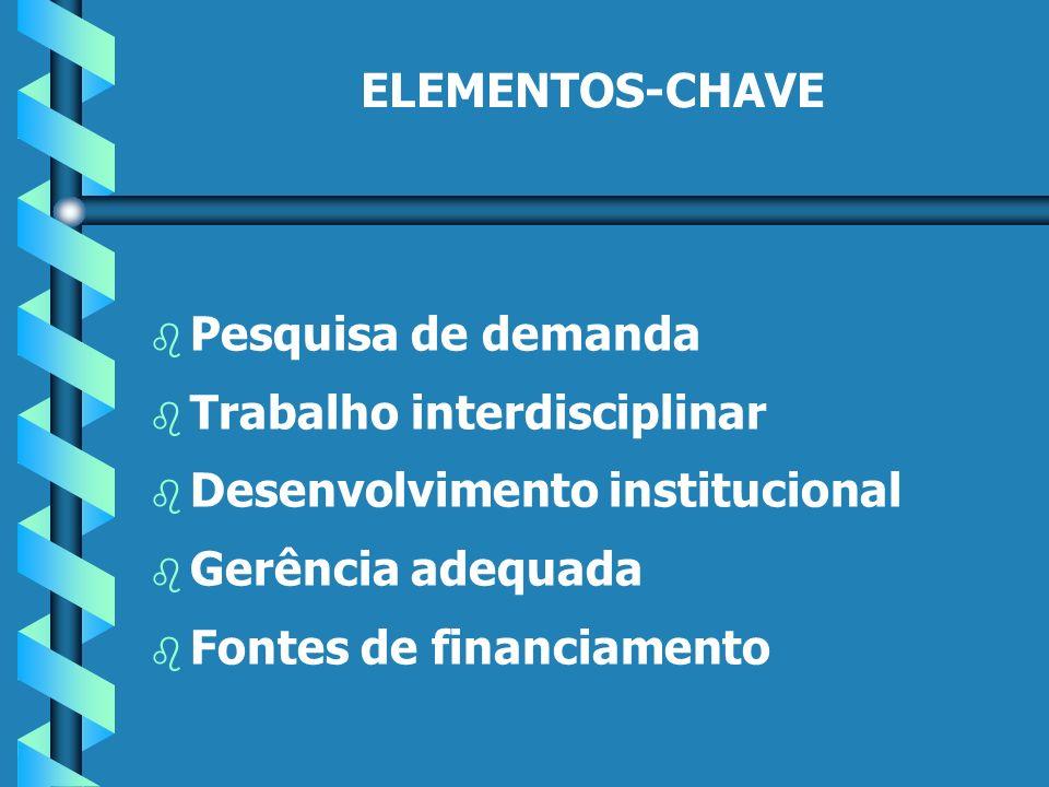 ELEMENTOS-CHAVE b b Pesquisa de demanda b b Trabalho interdisciplinar b b Desenvolvimento institucional b b Gerência adequada b b Fontes de financiamento