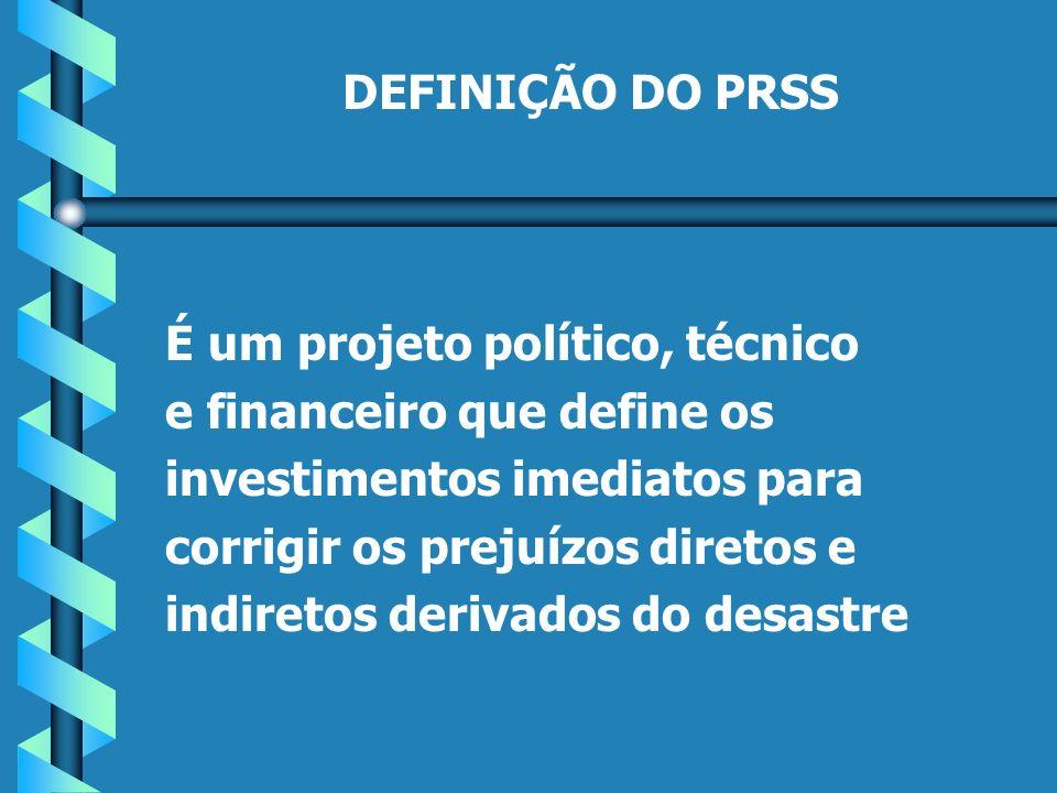 DEFINIÇÃO DO PRSS É um projeto político, técnico e financeiro que define os investimentos imediatos para corrigir os prejuízos diretos e indiretos derivados do desastre