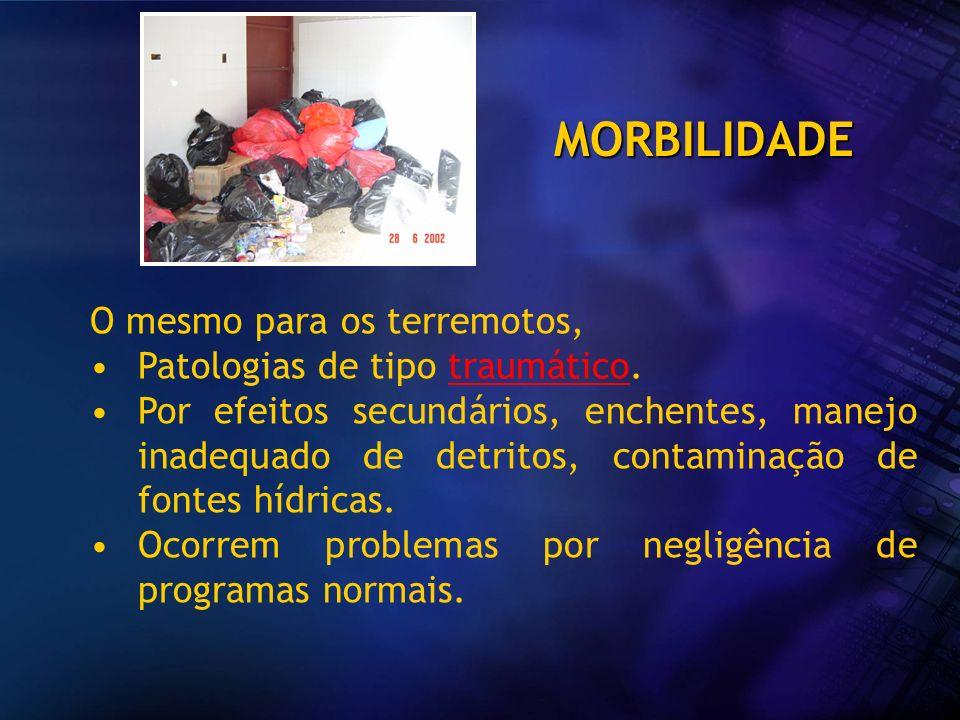 MORBILIDADE O mesmo para os terremotos, Patologias de tipo traumático. Por efeitos secundários, enchentes, manejo inadequado de detritos, contaminação
