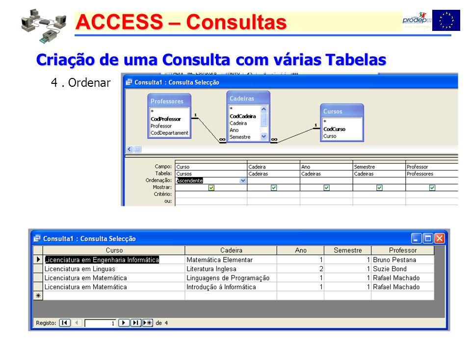 ACCESS – Consultas Criação de uma Consulta com várias Tabelas 4. Ordenar