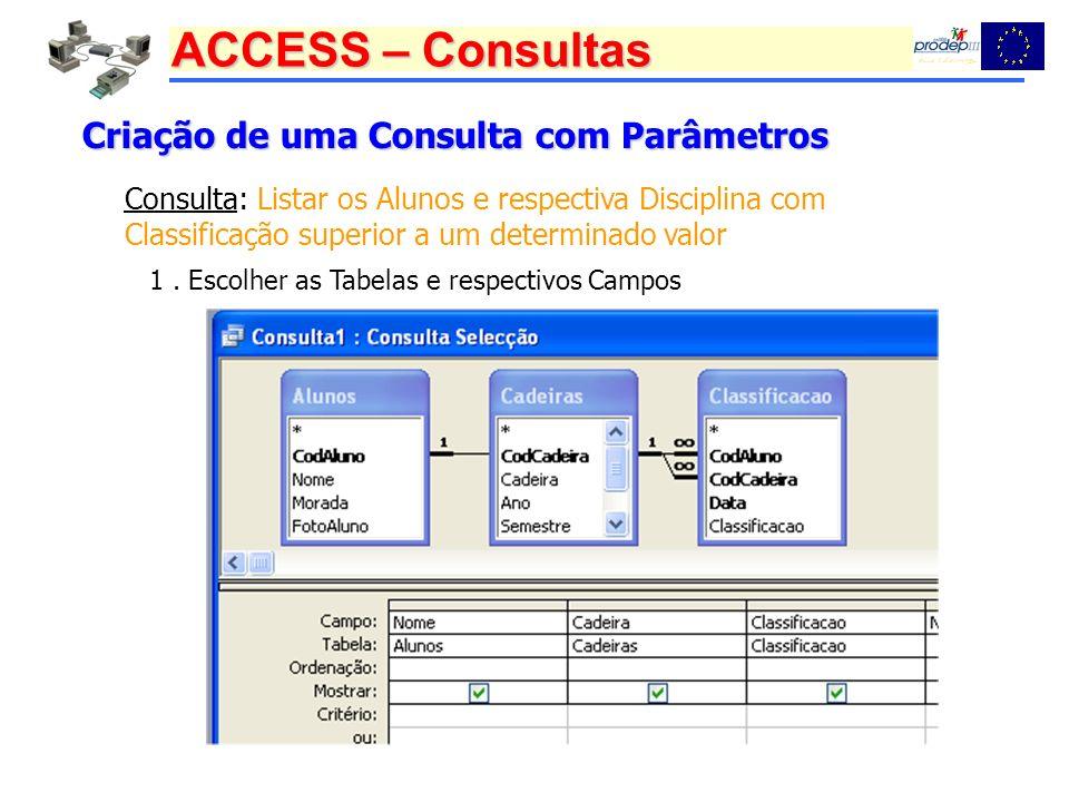 ACCESS – Consultas Criação de uma Consulta com Parâmetros Consulta: Listar os Alunos e respectiva Disciplina com Classificação superior a um determina