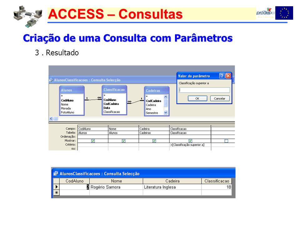 ACCESS – Consultas Criação de uma Consulta com Parâmetros 3. Resultado