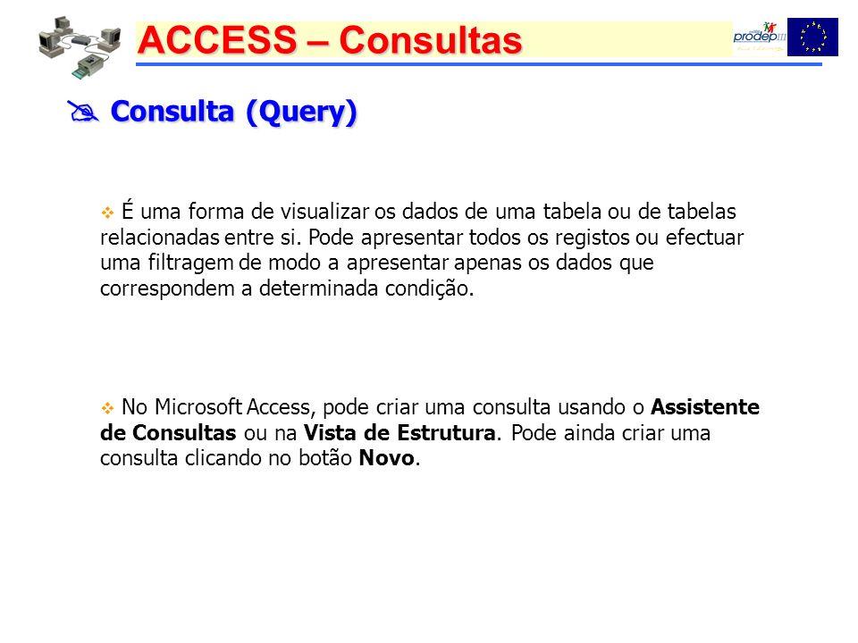 ACCESS – Consultas Consulta (Query) Consulta (Query) É uma forma de visualizar os dados de uma tabela ou de tabelas relacionadas entre si. Pode aprese