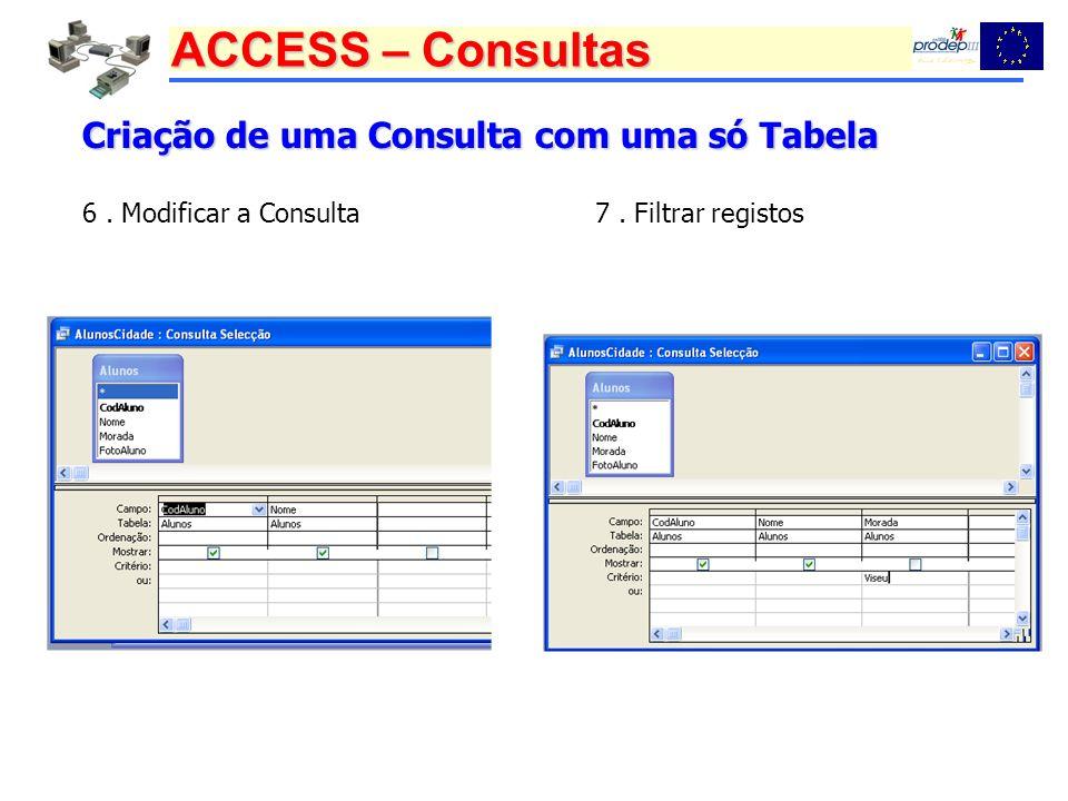 ACCESS – Consultas Criação de uma Consulta com uma só Tabela 6. Modificar a Consulta7. Filtrar registos