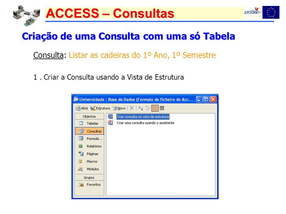 ACCESS – Consultas Criação de uma Consulta com uma só Tabela 1. Criar a Consulta usando a Vista de Estrutura Consulta: Listar as cadeiras do 1º Ano, 1