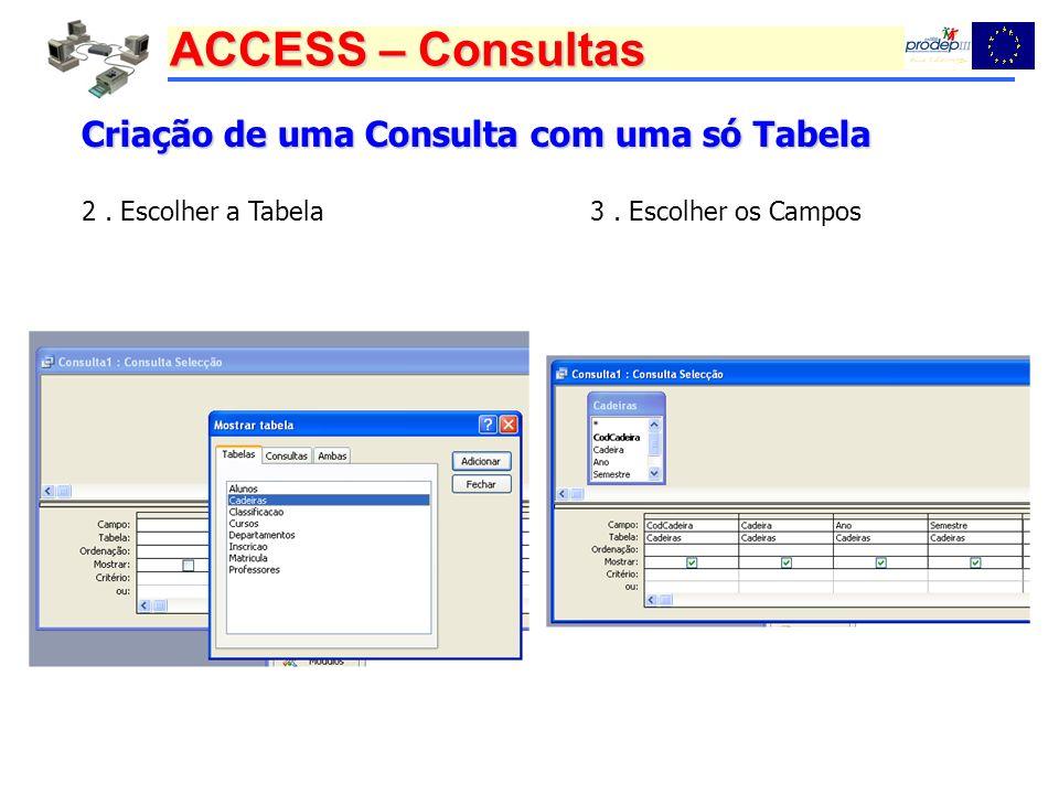 ACCESS – Consultas Criação de uma Consulta com uma só Tabela 2. Escolher a Tabela3. Escolher os Campos