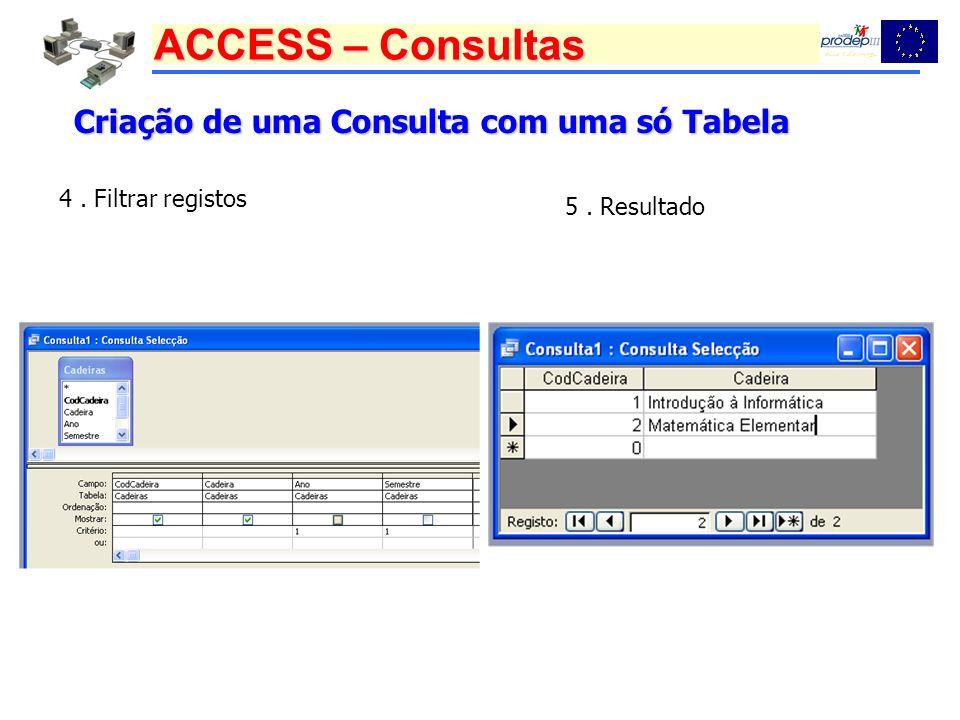 ACCESS – Consultas Criação de uma Consulta com uma só Tabela 4. Filtrar registos 5. Resultado
