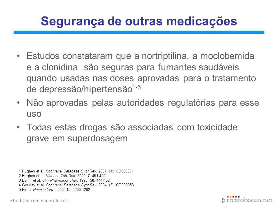 Atualizado em marzo de 2011 1 Hughes et al. Cochrane Database Syst Rev. 2007; (1): CD000031. 2 Hughes et al. Nicotine Tob Res. 2005; 7: 491-499. 3 Ber