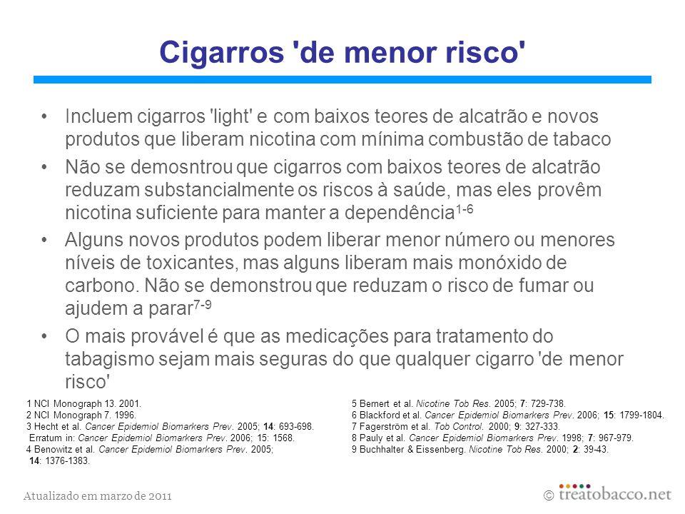 Atualizado em marzo de 2011 1 NCI Monograph 13. 2001.5 Bernert et al. Nicotine Tob Res. 2005; 7: 729-738. 2 NCI Monograph 7. 1996.6 Blackford et al. C