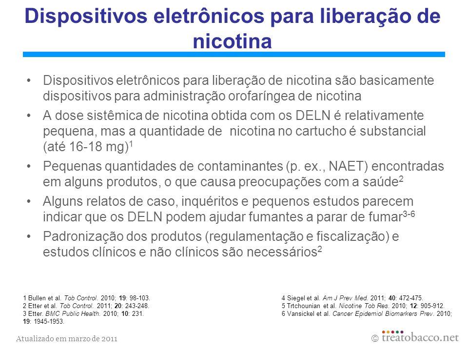Atualizado em marzo de 2011 Dispositivos eletrônicos para liberação de nicotina Dispositivos eletrônicos para liberação de nicotina são basicamente di