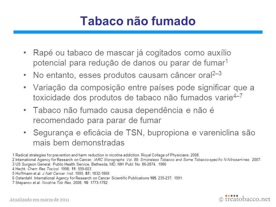 Atualizado em marzo de 2011 Tabaco não fumado Rapé ou tabaco de mascar já cogitados como auxílio potencial para redução de danos ou parar de fumar 1 N