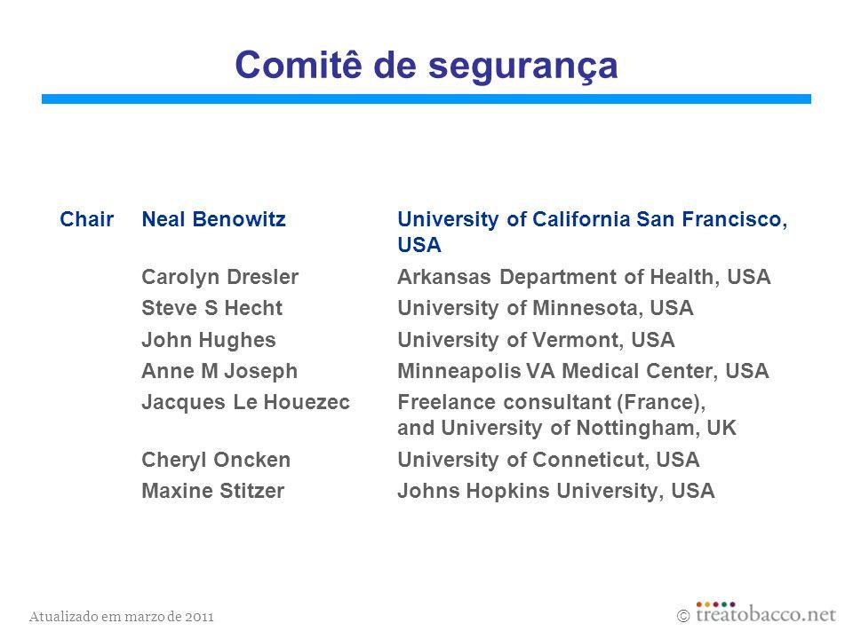 Atualizado em marzo de 2011 Comitê de segurança ChairNeal BenowitzUniversity of California San Francisco, USA Carolyn DreslerArkansas Department of He