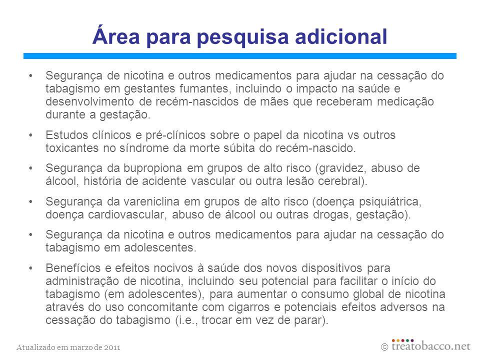 Atualizado em marzo de 2011 Área para pesquisa adicional Segurança de nicotina e outros medicamentos para ajudar na cessação do tabagismo em gestantes