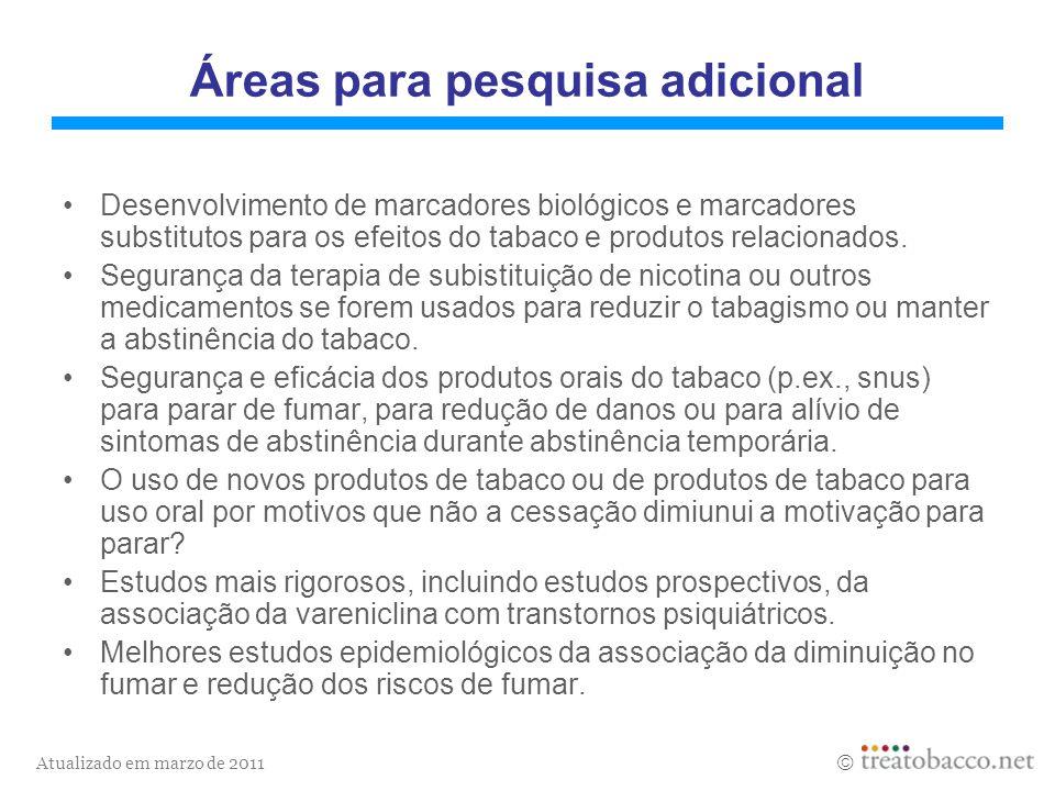 Atualizado em marzo de 2011 Áreas para pesquisa adicional Desenvolvimento de marcadores biológicos e marcadores substitutos para os efeitos do tabaco
