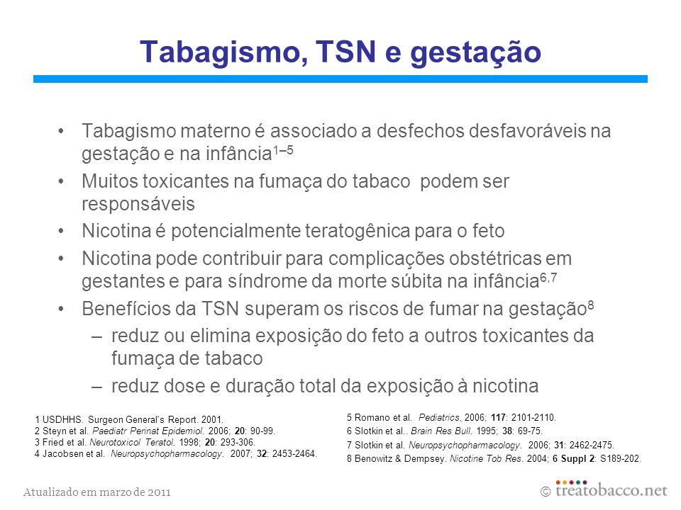 Atualizado em marzo de 2011 Terapia de substituição de nicotina Administração de nicotina sem os toxicantes do tabaco 1 TSN ajuda a combater os sintomas da anstinência 2 Dose de nicotina com TSN é menor e sua administração é mais gradual do que quando fumada, o que diminui o potencial de dependência 1,3 1 Benowitz & Gourlay.