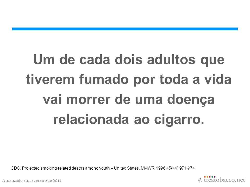 Atualizado em fevereiro de 2011 Um de cada dois adultos que tiverem fumado por toda a vida vai morrer de uma doença relacionada ao cigarro. CDC. Proje