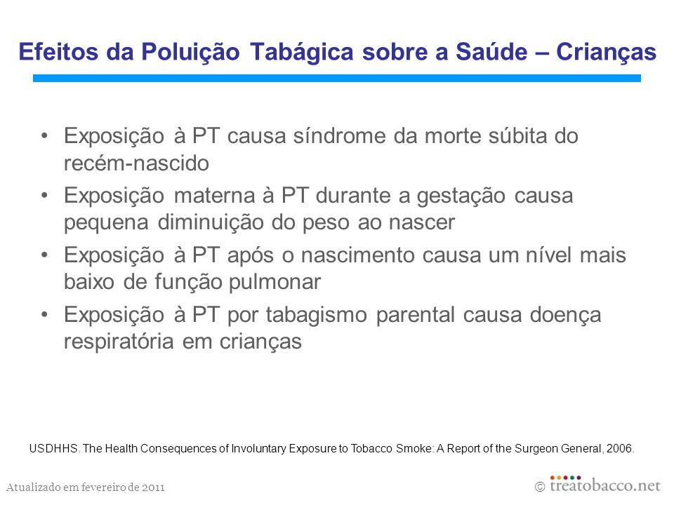 Atualizado em fevereiro de 2011 Efeitos da Poluição Tabágica sobre a Saúde – Crianças Exposição à PT causa síndrome da morte súbita do recém-nascido E