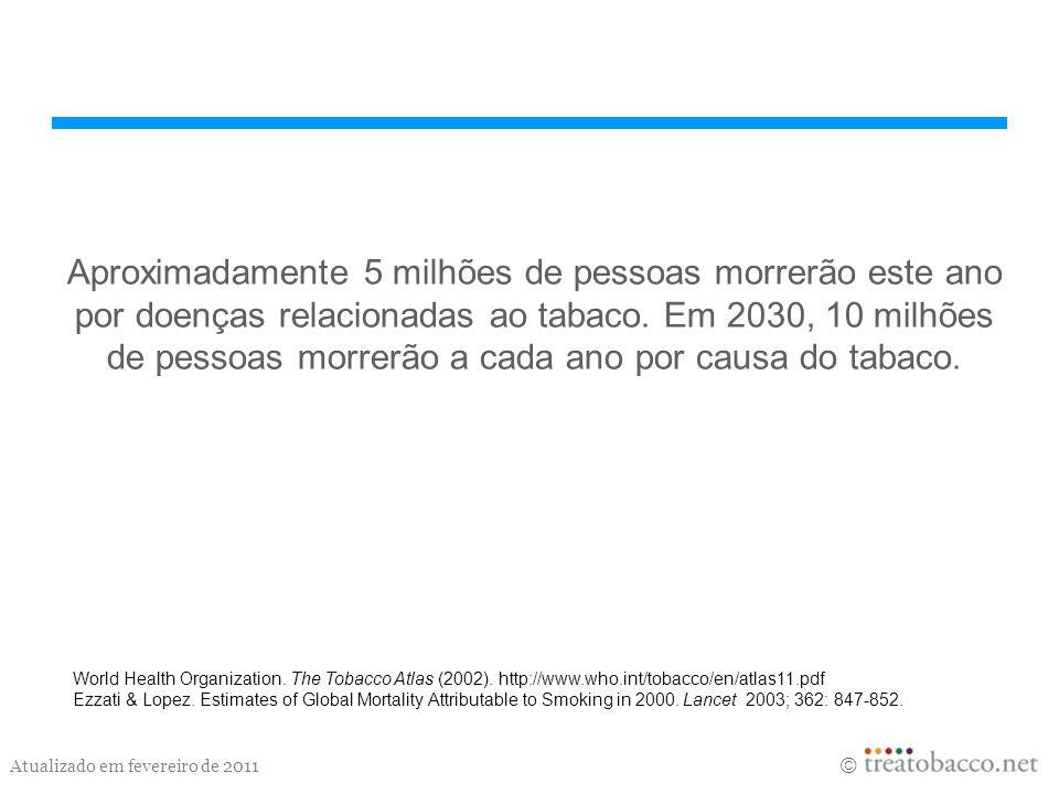 Atualizado em fevereiro de 2011 Aproximadamente 5 milhões de pessoas morrerão este ano por doenças relacionadas ao tabaco. Em 2030, 10 milhões de pess