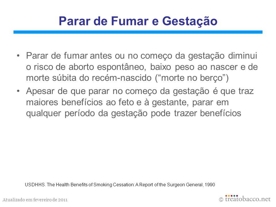 Atualizado em fevereiro de 2011 Parar de Fumar e Gestação Parar de fumar antes ou no começo da gestação diminui o risco de aborto espontâneo, baixo pe