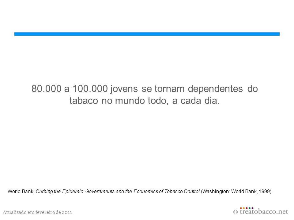 Atualizado em fevereiro de 2011 80.000 a 100.000 jovens se tornam dependentes do tabaco no mundo todo, a cada dia. World Bank, Curbing the Epidemic: G