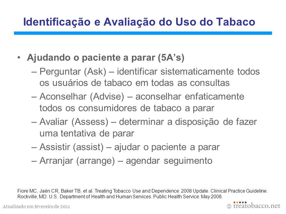 Atualizado em fevereiro de 2011 Identificação e Avaliação do Uso do Tabaco Ajudando o paciente a parar (5As) –Perguntar (Ask) – identificar sistematic