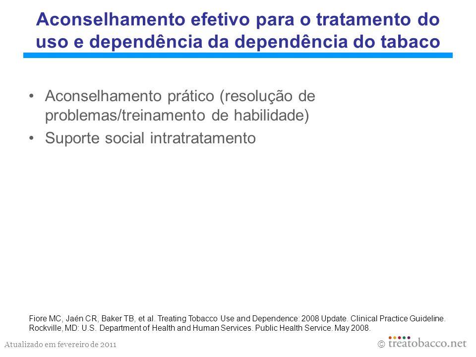 Atualizado em fevereiro de 2011 Aconselhamento efetivo para o tratamento do uso e dependência da dependência do tabaco Aconselhamento prático (resoluç