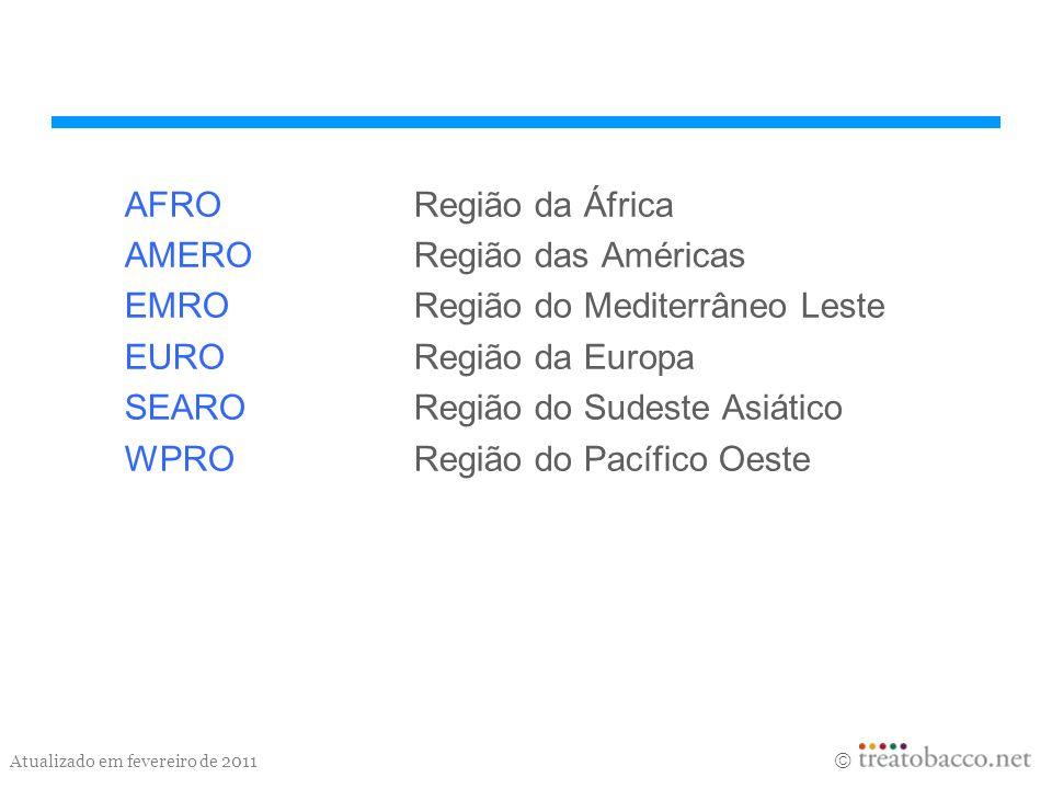 Atualizado em fevereiro de 2011 AFRORegião da África AMERORegião das Américas EMRORegião do Mediterrâneo Leste EURORegião da Europa SEARORegião do Sud