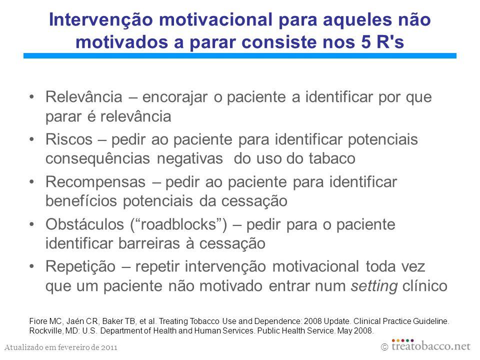 Atualizado em fevereiro de 2011 Intervenção motivacional para aqueles não motivados a parar consiste nos 5 R's Relevância – encorajar o paciente a ide