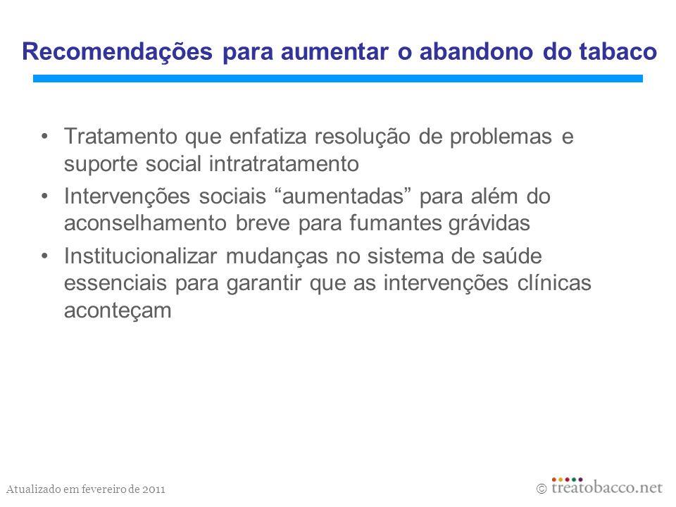 Atualizado em fevereiro de 2011 Tratamento que enfatiza resolução de problemas e suporte social intratratamento Intervenções sociais aumentadas para a