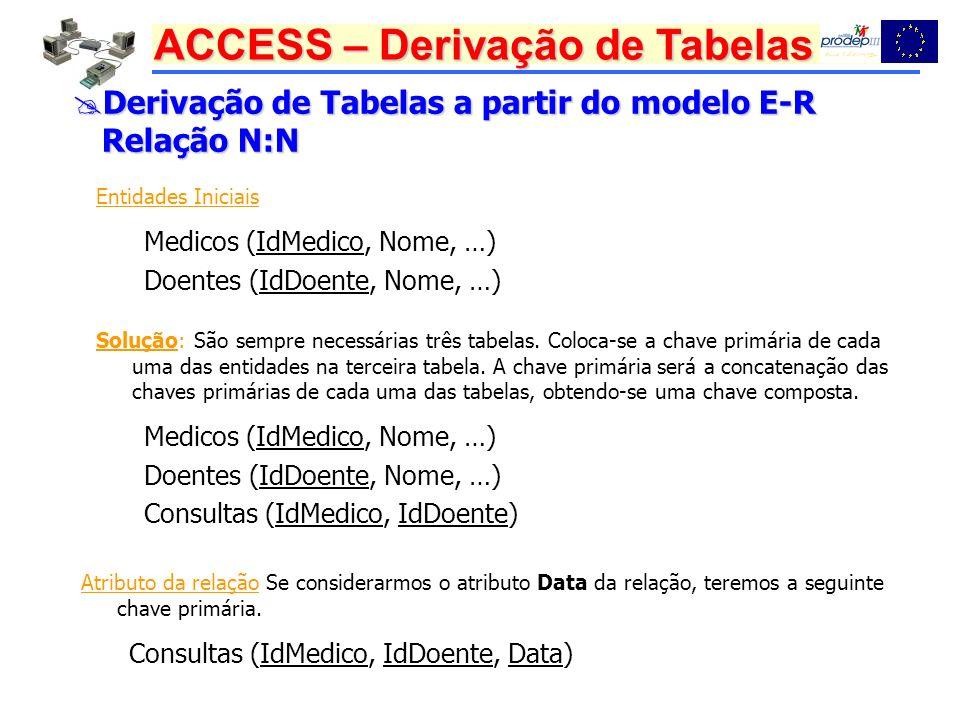 ACCESS – Derivação de Tabelas Derivação de Tabelas a partir do modelo E-R Derivação de Tabelas a partir do modelo E-R Relação N:N Relação N:N Entidades Iniciais Medicos (IdMedico, Nome, …) Doentes (IdDoente, Nome, …) Solução: São sempre necessárias três tabelas.