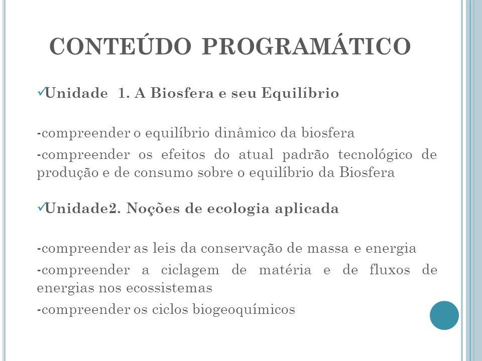 CONTEÚDO PROGRAMÁTICO Unidade 1. A Biosfera e seu Equilíbrio -compreender o equilíbrio dinâmico da biosfera -compreender os efeitos do atual padrão te