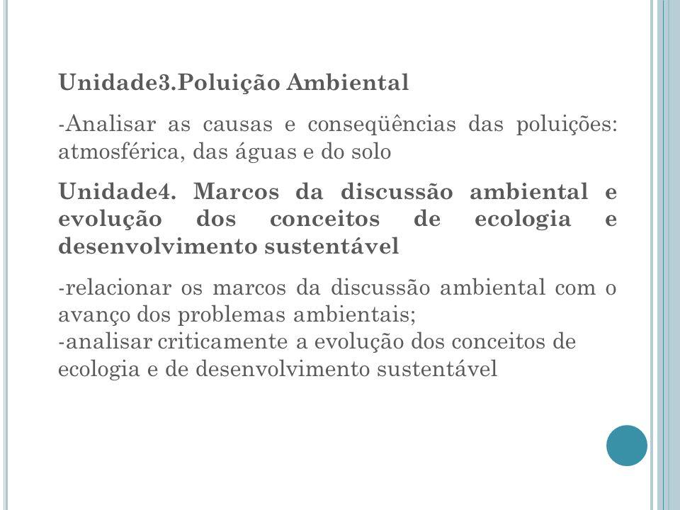 Unidade3.Poluição Ambiental -Analisar as causas e conseqüências das poluições: atmosférica, das águas e do solo Unidade4. Marcos da discussão ambienta